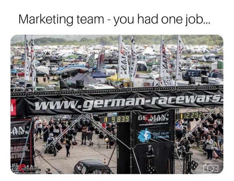 Transport - Marketing team- you had one job.. Www.german-racewars 12.292 9.839 GE MAN ewars AN eWars cenars.com Find us on Facebook RACING CTION