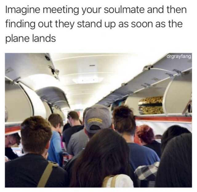 Air travel - Imagine meeting your soulmate and then finding out they stand up as soon as the plane lands drgrayfang