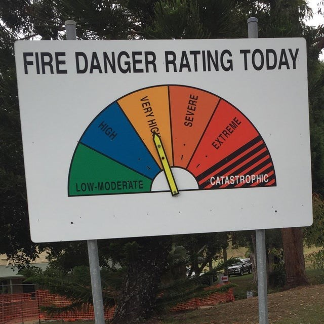 Signage - FIRE DANGER RATING TODAY HIGH CATASTROPHIC LOW-MODERATE VERY HIG SEVERE EXTREME
