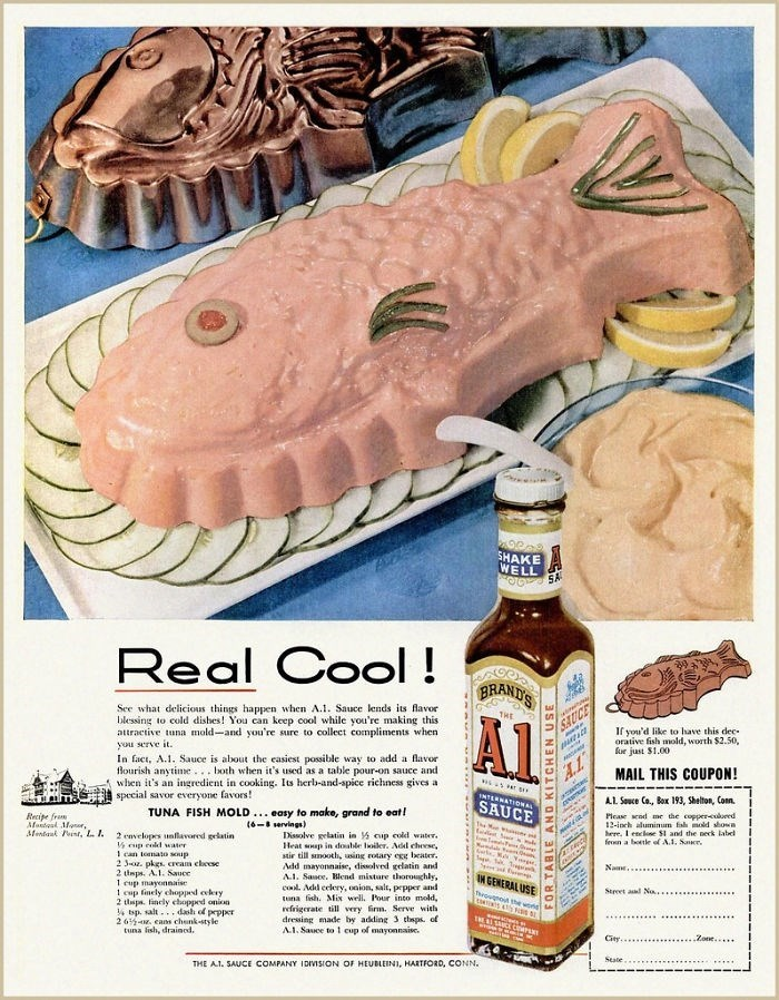 Vintage advertisement - SHAKE WELL YS Real Cool! BRAND'S See what delicious things happen when A.1. Sauce lends its flavor blessing to cold dishes! You can keep cool while you're making this attractive tuna mold-and you're sure to collect compliments when you serve it In fact, A.. Sauce is about the easiest possible way to add a flavor lourish anytime.both when it's used as a table pour-on sauce and when it's an ingredient in cooking. Is herb-and-spice richness gives a special savor everyone fav