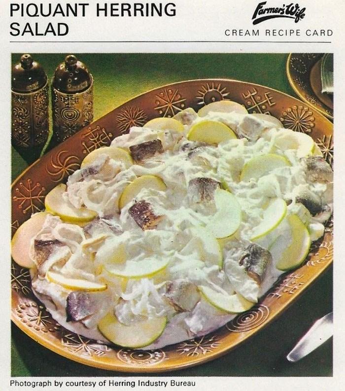 Dish - PIQUANT HERRING SALAD Farmuci Cofe CREAM RECIPE CARD LL BE Photograph by courtesy of Herring Industry Bureau र