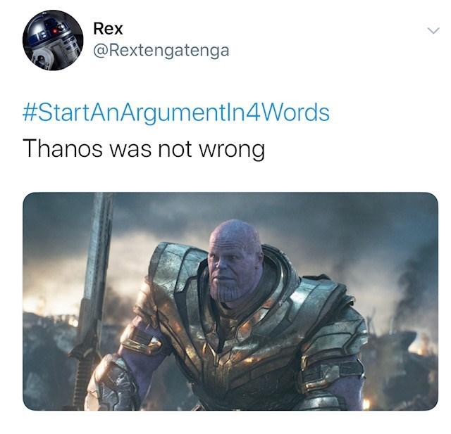 Helmet - Rex @Rextengatenga #StartAnArgumentIn4Words Thanos was not wrong