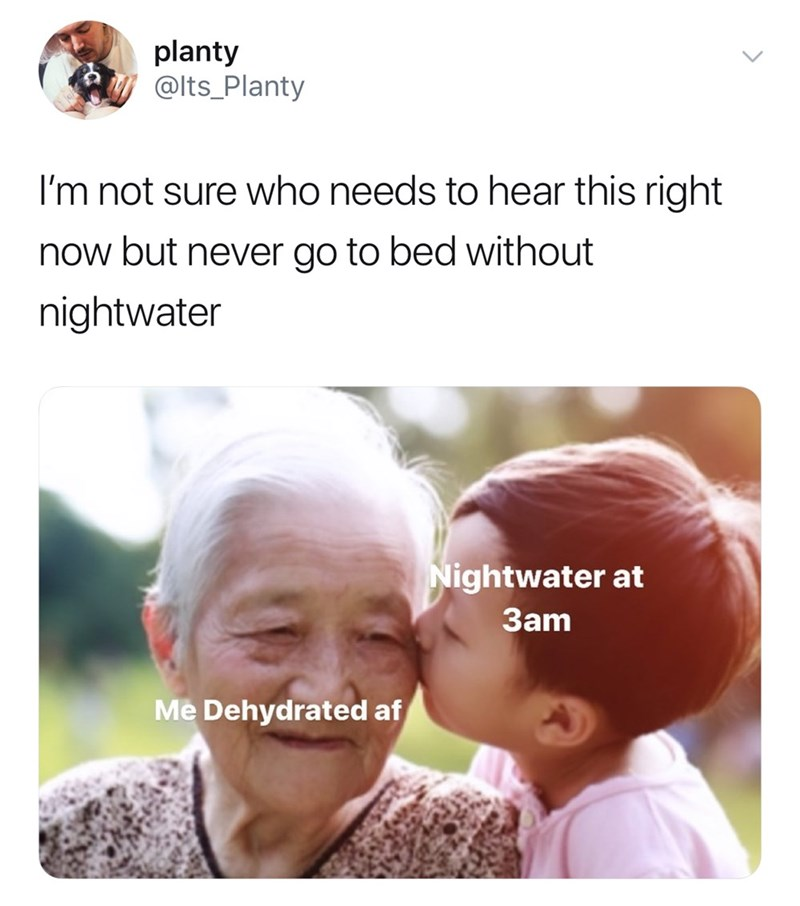 People - planty @Its_Planty I'm not sure who needs to hear this right now but never go to bed without nightwater Nightwater at 3am Me Dehydrated af