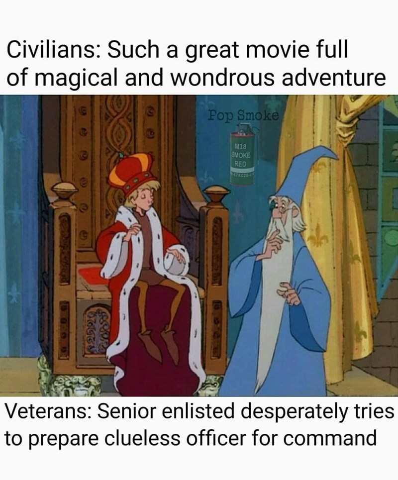 Cartoon - Civilians: Such a great movie full of magical and wondrous adventure Pop Smoke M18 SMOKE RED -67K028-0 Veterans: Senior enlisted desperately tries to prepare clueless officer for command OSARA