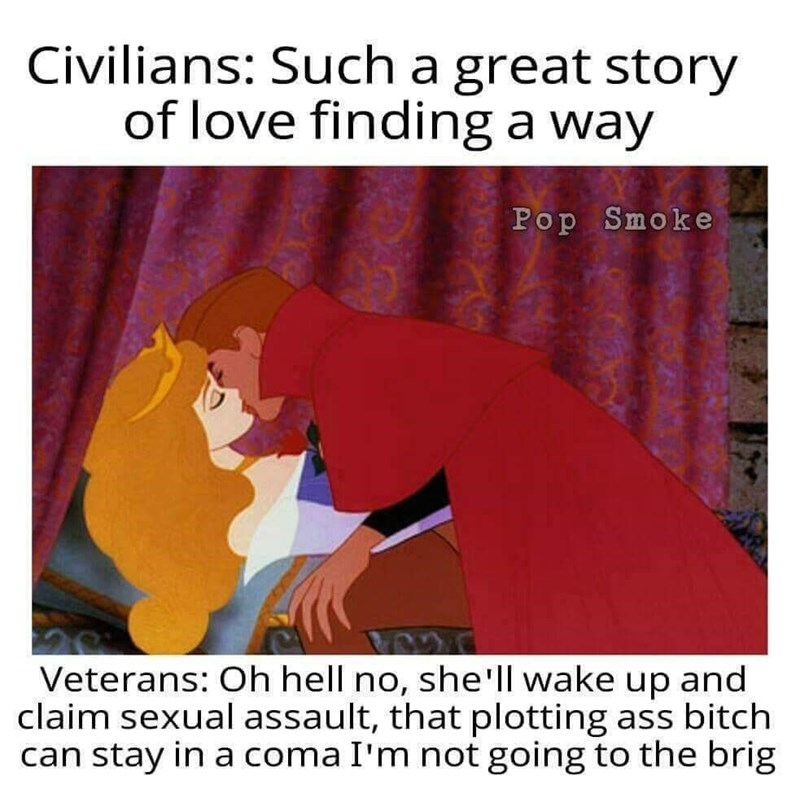 Text - Civilians: Such a great story of love finding a way Pop Smoke Veterans: Oh hell no, she'll wake up and claim sexual assault, that plotting ass bitch can stay in a coma I'm not going to the brig