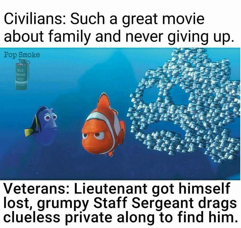 Text - Civilians: Such a great movie about family and never giving up. Pop Smoke M18 SMOKE RED Veterans: Lieutenant got himself lost, grumpy Staff Sergeant drags clueless private along to find him