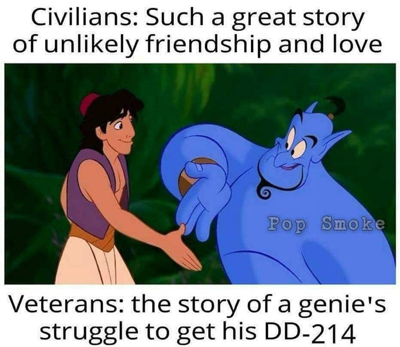Cartoon - Civilians: Such a great story of unlikely friendship and love Pop Smoke Veterans: the story of a genie's struggle to get his DD-214