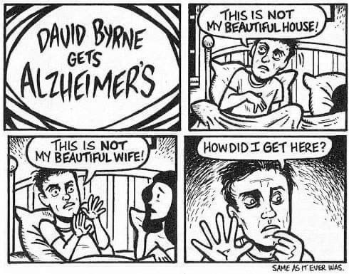Comics - THIS IS NOT MY BEAUTIFULHOUSE! DAVID BYRNE GETS ALzHEMERS THIS IS NOT MY BEAUTIFUL WIFE! HOWDIDI GET HERE? SAME AS ITEVER WAS.
