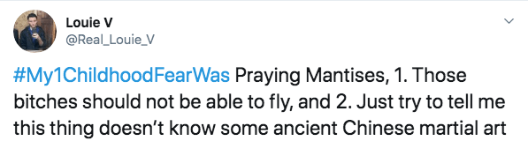 Text - Louie V @Real Louie_V #My1Childhood FearWas Praying Mantises, 1. Those bitches should not be able to fly, and 2. Just try to tell me this thing doesn't know some ancient Chinese martial art