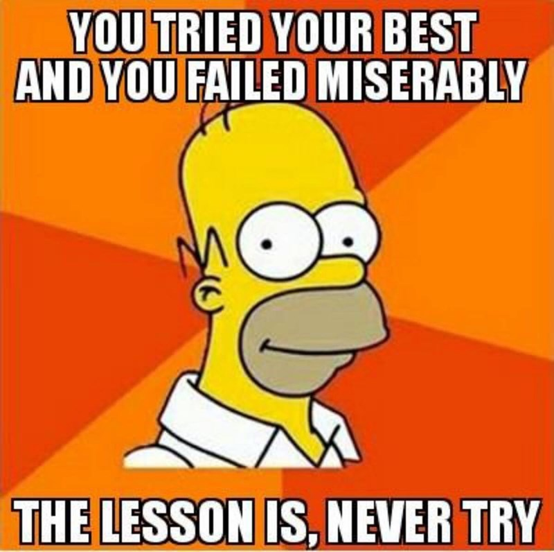 Cartoon - YOU TRIED YOUR BEST AND YOU FAILED MISERABLY THE LESSON IS, NEVER TRY