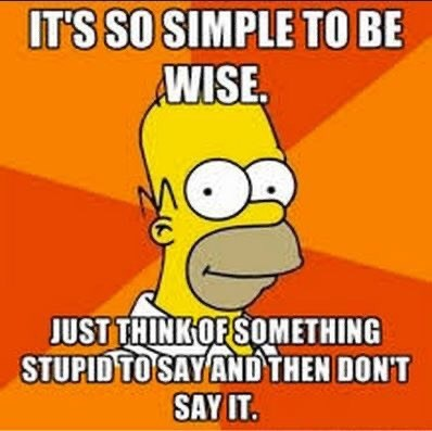 Cartoon - IT'S SO SIMPLE TO BE WISE JUST THINKOFSOMETHING STUPID TO SAY ANDTHEN DON'T SAY IT.