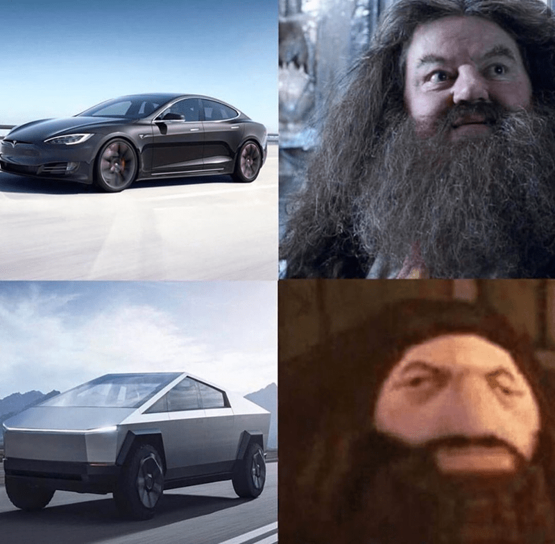 Funny meme using cybertruck tesla and hagrid from harry potter