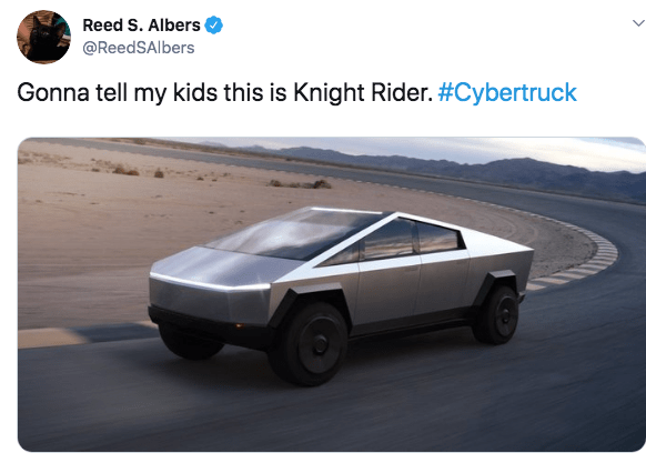 Vehicle - Reed S. Albers @ReedSAlbers Gonna tell my kids this is Knight Rider. #Cybertruck