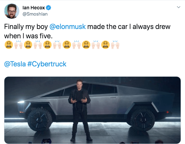 Motor vehicle - lan Hecox @Smoshlan Finally my boy @elonmusk made the car I always drew when I was five. @Tesla #Cybertruck