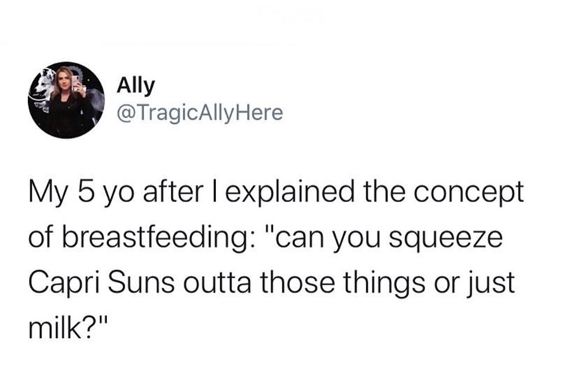 """Text - Ally @TragicAlly Here My 5 yo after l explained the concept of breastfeeding: """"can you squeeze. Capri Suns outta those things or just milk?"""""""