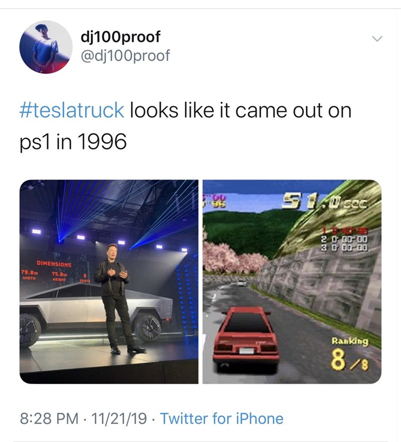 Transport - dj100proof @dj100proof #teslatruck looks like it came out on ps1 in 1996 S ocac 20 B0 00 3 D 00 00 DIMENSIONS 79.8IN 75.8IN WIDTH HEIGHT SEAT Ranking 8/8 8:28 PM 11/21/19 Twitter for iPhone