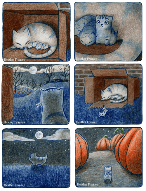 cat comic halloween cute