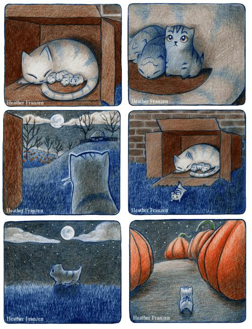 cat comic halloween cute