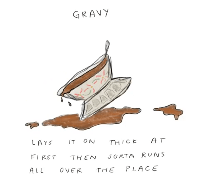 Text - GRAVY AT ON LAYS IT THICE SORTA R UNS FIRST THEN PLACE Αl OVER THE