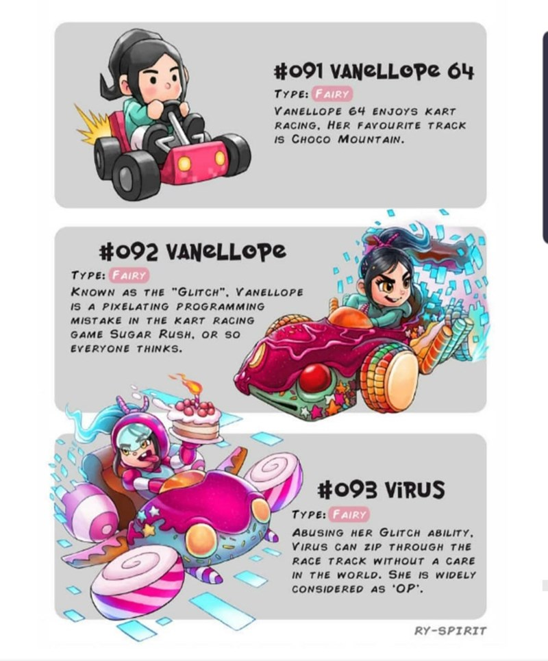"""Cartoon - #091 VANeLLOpe 64 TYPE: FAIRY VANELLOPE 64 ENJOYS KART RACING, HER FAVOURITE TRACK IS CHOCO MOUNTAIN. #092 VANELLOPE TYPE: FAIRY KNOWN AS THE """"GLITCH"""". VANELLOPE IS A PIXELATING PROGRAMMING MISTAKE IN THE KART RACING GAME SUGAR RUSH. OR SO EVERYONE THINKS. #093 VIRUS TYPE: FAIRY ABUSING HER GLITCH ABILITY VIRUS CAN ZIP THROUGH THE RACE TRACK WITHOUTA CARE IN THE WORLD. SHE IS WIDELY CONSIDERED AS OP. RY-SPIRIT"""