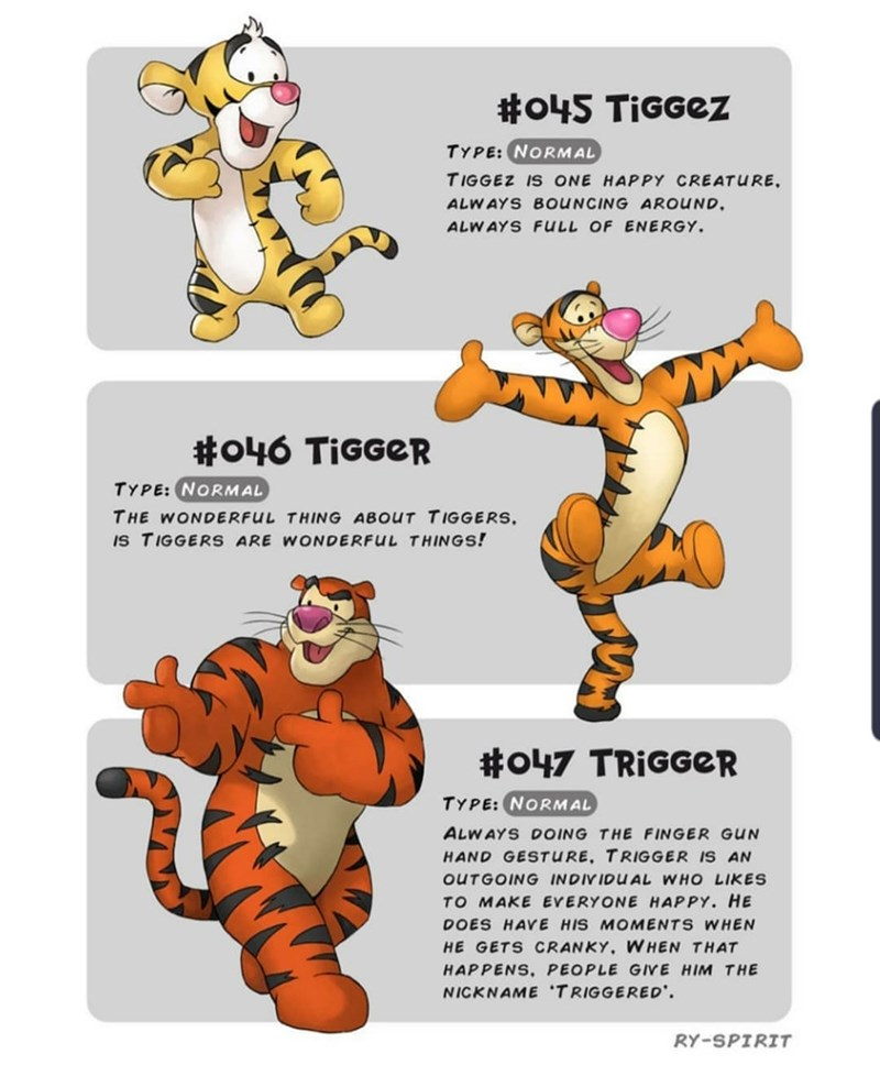 Animal figure - #o45 TiGGez TYPE: NORMAL TIGGEZ IS ONE HAPPY CREATURE ALWAYS BOUNCING AROUND ALWAYS FULL OF ENERGY #o46 TIGGER TYPE: NORMAL THE WONDERFUL THING ABOUT TIGGERS IS TIGGERS ARE WONDERFUL THINGS! #o47 TRIGGER TYPE: NORMAL ALWAYS DOING THE FINGER GUN HAND GESTURE. TRIGGER IS AN OUTGOING INDIVIDUAL WHO LIKES TO MAKE EVERYONE HAPPY. HE DOES HAYE HIS MOMENTS WHEN HE GETS CRANKY. WHEN THAT HAPPENS, PEOPLE GIVE HIM THE NICKNAME TRIGGERED' RY-SPIRIT