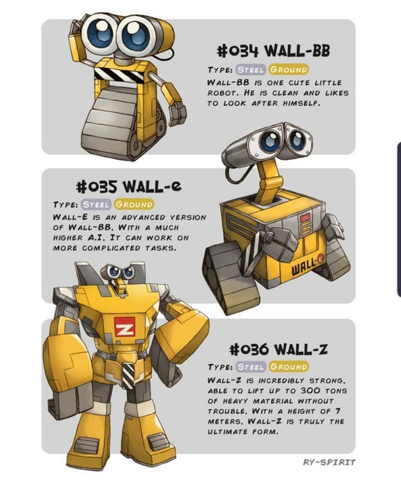 Robot - #034 WALL-BB TYPE: STEEL GROUND WALL-BB IS ONE CUTE LITTLE ROBOT. HE IS CLEAN AND LIKES TO LOOK AFTER HIMSELF #035 WALL-e TYPE: STEEL GROUND WALL-E IS AN ADVANCED VERSION OF WALL-BB, WITH A MUCH HIGHER A.I. IT CAN WORK ON MORE COMPLICATED TASKS. WALL- #036 WALL-Z TYPE: STEEL GROUND WALL-Z IS INCREDIBLY STRONG. ABLE TO LIFT UP TO 300 TONS OF HEAVY MATERIAL WITHOUT TROUBLE. WITH A HEIGHT OF 7 METERS. W ALL-Z IS TRULY THE ULTIMATE FORM. RY-SPIRIT