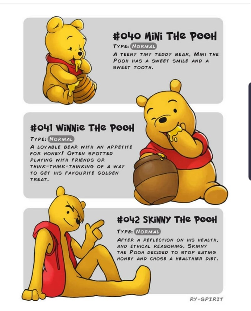 Cartoon - #o40 MiNi THe POOH TYPE:NORMAL A TEENY TINY TEDDY BEAR, MINI THE POOH HASA SWEET SMILE AND A SWEET TOOTH. #041 WiNNie THe POOH TYPE: NORMAL A LOVABLE BEAR WITH AN APPET ITE FOR HONEY! OFTEN SPOTTED PLAYING WITH FRIENDS OR THINK-THINK-THINKING OF A WAY TO GET HIS FAVOURITE GOLDEN TREAT. #o42 SKINNY THe POOH TYPE: NORMAL AFTER A REFLECTION ON HIS HEALTH AND ETHICAL REASONING, SKINNY THE POOH DECIDED TO STOP EATING HONEY AND CHOSE A HEALTHIER DIET RY-SPIRIT
