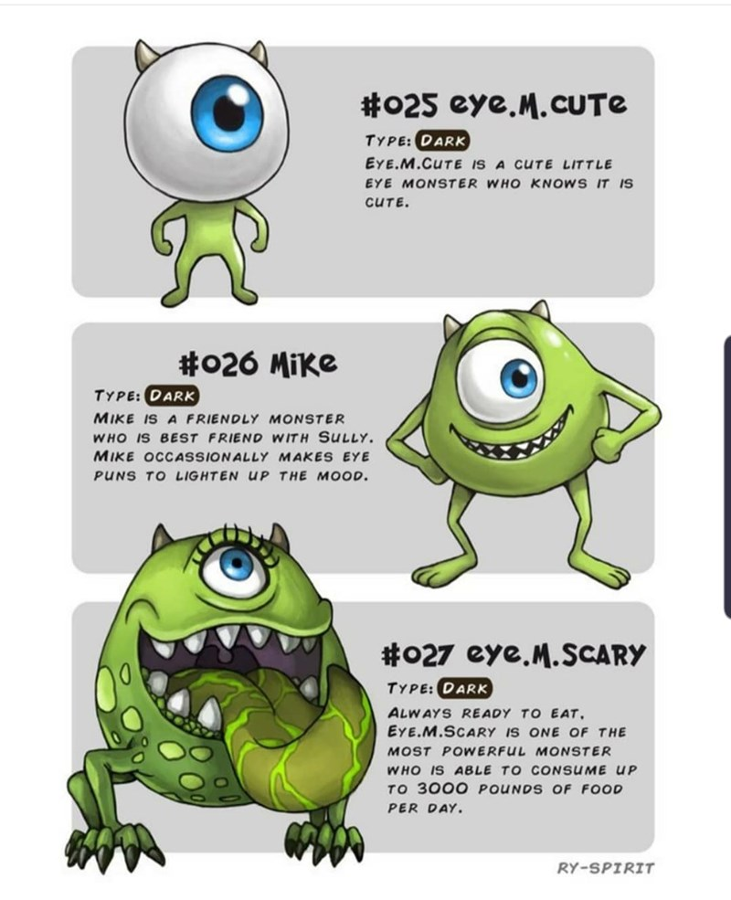 Green - #025 eye.M.CUTE TYPE: DARK EYE.M.CUTE IS A CUTE LITTLE EYE MONSTER WHO KNOWS IT IS CUTE. #026 Mike TYPE:DARK MIKE IS A FRIENDLY MONSTER WHO IS BEST FRIEND WITH SULLY MIKE OCCASSIONALLY MAKES EYE PUNS TO LIGHTEN UP THE MOOD. #027 eye.M.SCARY TYPE:DARK ALWAYS READY TO EAT EYE.M.SCARY IS ONE OF THE MOST POWERFUL MONSTER WHO IS ABLE TO CONsUME UP TO 3000 POUNDS OF FOOD PER DAY RY-SPIRIT