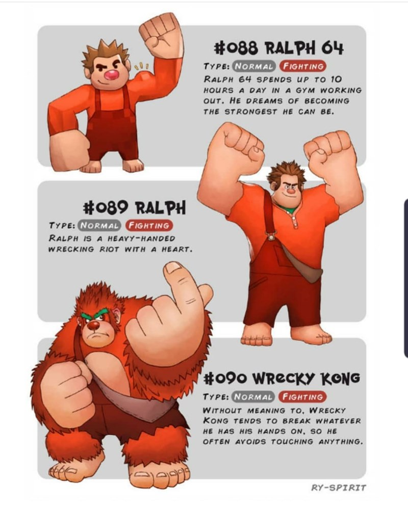 Cartoon - #088 RALPH 64 TYPE:NORMAL FIGHTING RALPH 64 SPENDS UP TO 10 HOURS A DAY IN A GYM WORKING oUT. HE DREAMS OF BECOMING THE STRONGEST HE CAN BE #089 RALPH TYPE: NORMAL FIGHTING RALPH IS A HEAVY-HANDED W RECKING RIOT WITH A HEART '#090 WRECKY KONG TYPE: NORMAL FIGHTING WITHOUT MEANING TO, WRECKY KONG TENDS TO BREAK WHATEVER HE HAS HIS HANDS ON, SO HE OFTEN AYOIDS TOUCHING ANYTHING. RY-SPIRIT