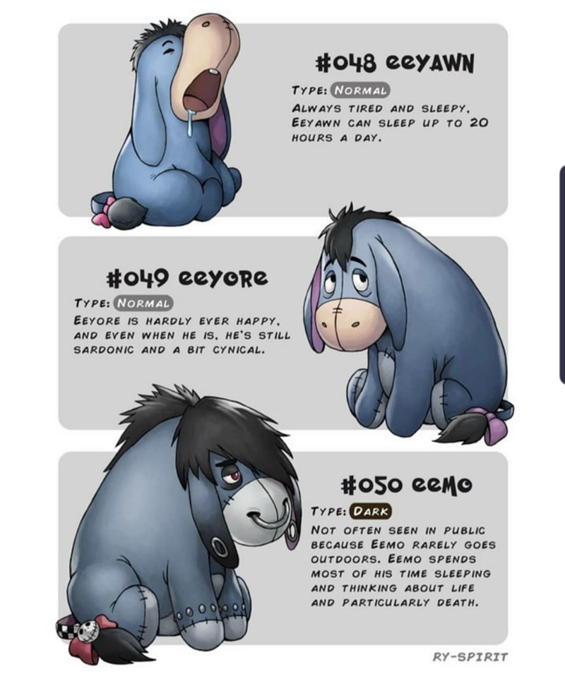 Cartoon - #o48 eeyAWN TYPE: NORMAL ALWAYS TIRED AND SLEEPY EEYAWN CAN SLEEP UP TO 20 HOURS A DAY #o49 eeyoRe TYPE: NORMAL EEYORE IS HARDLY EVER HAPPY AND EVEN WHEN HE IS, HE'S STILL SARDONIC AND A BIT CYNICAL #o5o eeMo TYPE: DARK NOT OFTEN SEEN IN PUBLIC BECAUSE EEMO RARELY GOES OUTDOORS. EEMO SPENDS MOST OF HIS TIME SLEEPING AND THINKING ABOUT LIFE AND PARTICULARLY DEATH RY-SPIRIT
