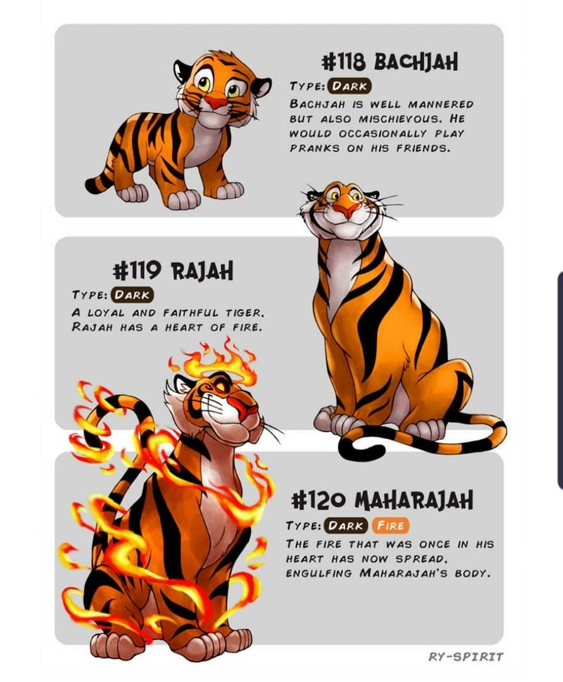 Animal figure - #118 BACHJAH TYPE: DARK BACHJAH IS WELL MANNERED BUT ALSO MISCHIEYUS. HE WOULD OCCASIONALLY PLAY PRANKS ON HIS FRIENDS #119 RAJAH TYPE:DARK A LOYAL AND FAITHFUL TIGER RAJAH HAS A HEART OF FIRE #120 MAHARAJAH TYPE: DARK FIRE THE FIRE THAT WAS ONCE IN HIS HEART HAS NOW SPREAD. ENGULFING MAHARAJAH'S BODY RY-SPIRIT
