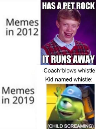 Text - HAS A PET ROCK Memes in 2012 IT RUNS AWAY Coach*blows whistle Kid named whistle: Memes in 2019 (CHILD SCREAMING)