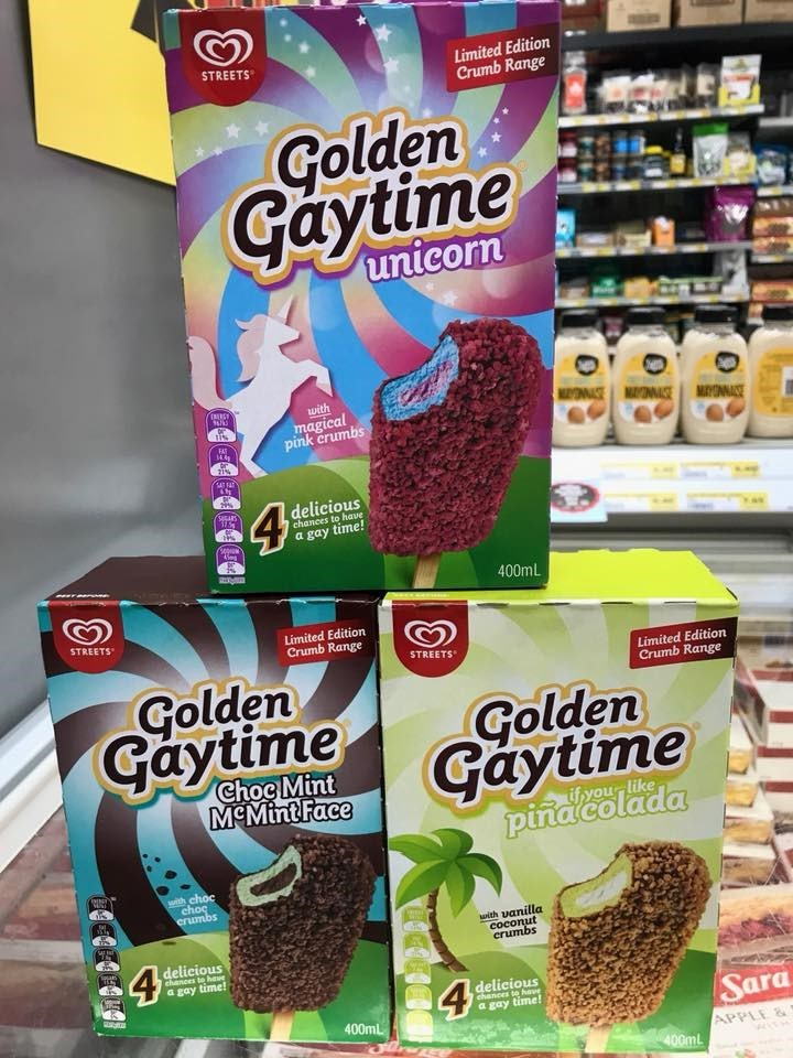 Snack - STREETS Limited Edition Crumb Range Golden Gaytime unicorn with OWEMANE magical pink crumbs MAYNE FAT 144 21% 4 delicious SUGARS chances to have a gay time! 400mL STREETS Limited Edition Crumb Range STREETS Limited Edition Crumb Range Golden Gaytime Golden Gaytime pinacolada Choc Mint МЕMintFace ifyour like with choc choc erumbs ith uanilla coconut erumbs delicious a gay time! 4 delicious chances to have Sara a gay time! 400mL APPLE & 400mL