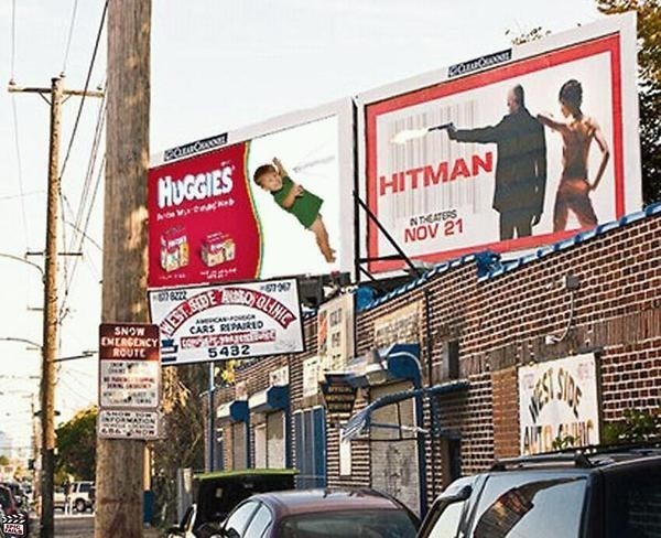 Advertising - HUGGIES HITMAN N THEATERS NOV 21 6222 HEST SEDE AO OLINIC aCAOc CARS RIPAIRID SNOW ENERGDNCY ROUTE 5432