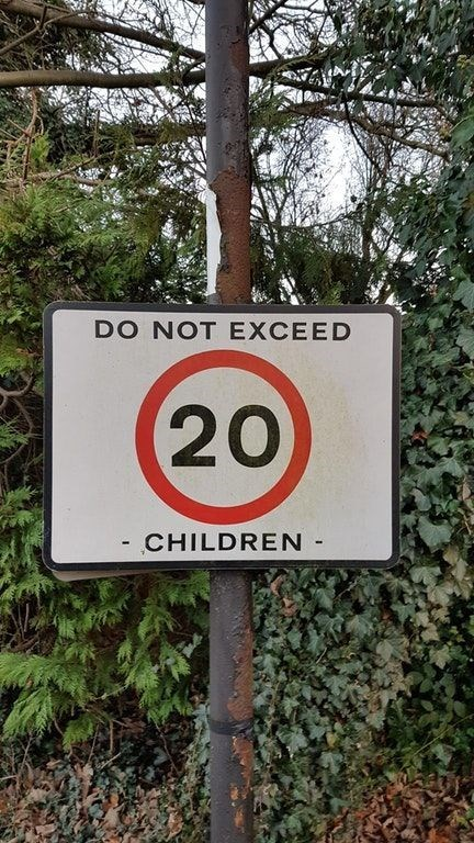 Sign - DO NOT EXCEED 20 - CHILDREN