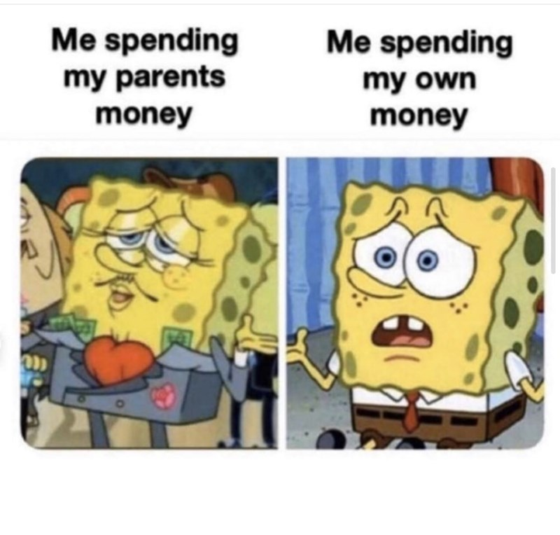 Cartoon - Me spending Me spending my parents my own money money