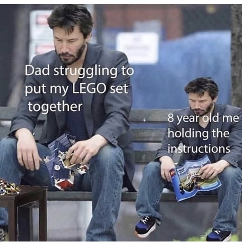 Denim - Dad struggling to put my LEGO set together 8 year old me holding the instructions
