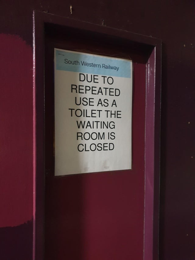 Text - South Western Railway DUE TO REPEATED USE AS A TOILET THE WAITING ROOM IS CLOSED