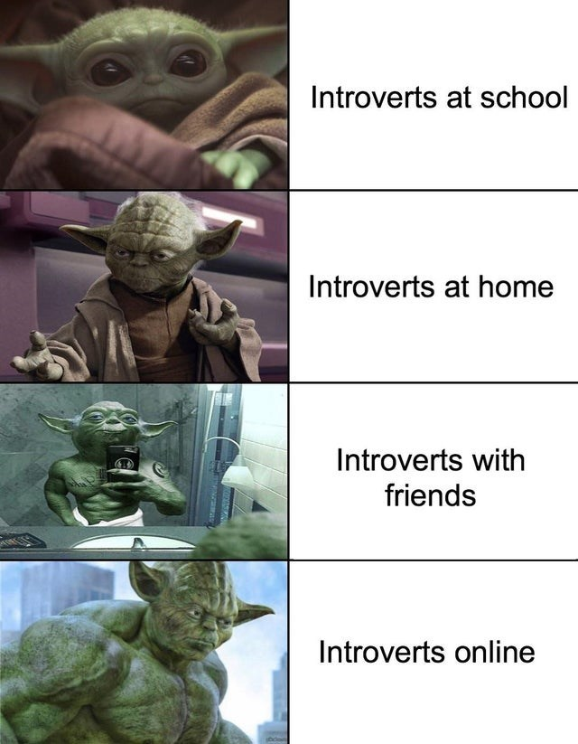 Text - Yoda - Introverts at school Introverts at home Introverts with friends Introverts online