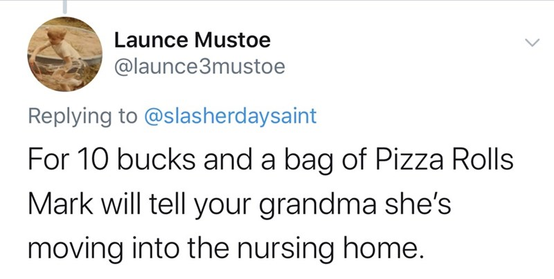 Text - Launce Mustoe @launce3mustoe Replying to @slasherdaysaint For 10 bucks and a bag of Pizza Rolls Mark will tell your grandma she's moving into the nursing home.