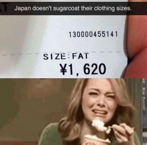 Text - Japan doesn't sugarcoat their clothing sizes. 130000455141 SIZE FAT ¥1, 620