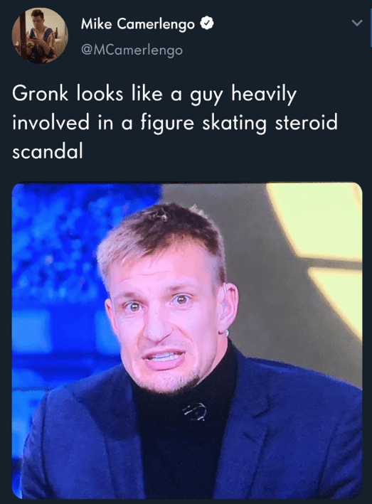 Photo caption - Mike Camerlengo @MCamerlengo guy heavily involved in a figure skating steroid Gronk looks like scandal