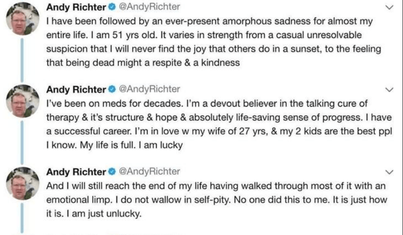 Text - Andy Richter @AndyRichter I have been followed by an ever-present amorphous sadness for almost my entire life. I am 51 yrs old. It varies in strength from a casual unresolvable suspicion that I will never find the joy that others do in a sunset, to the feeling that being dead might a respite & a kindness Andy Richter@AndyRichter I've been on meds for decades. I'm a devout believer in the talking cure of therapy & it's structure & hope & absolutely life-saving sense of progress. I have a s