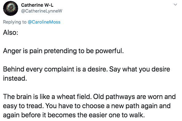 Text - Catherine W-L @CatherineLynneW Replying to @CarolineMoss Also: Anger is pain pretending to be powerful Behind every complaint is a desire. Say what you desire instead. The brain is like a wheat field. Old pathways are worn and easy to tread. You have to choose a new path again and again before it becomes the easier one to walk.