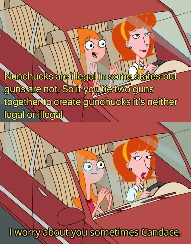 Cartoon - Nunchucks are illegal in some states but guns are not. So if youtie two guns together to create gunchucks it's neither legal orillegal I worry about you sometimes Candace.