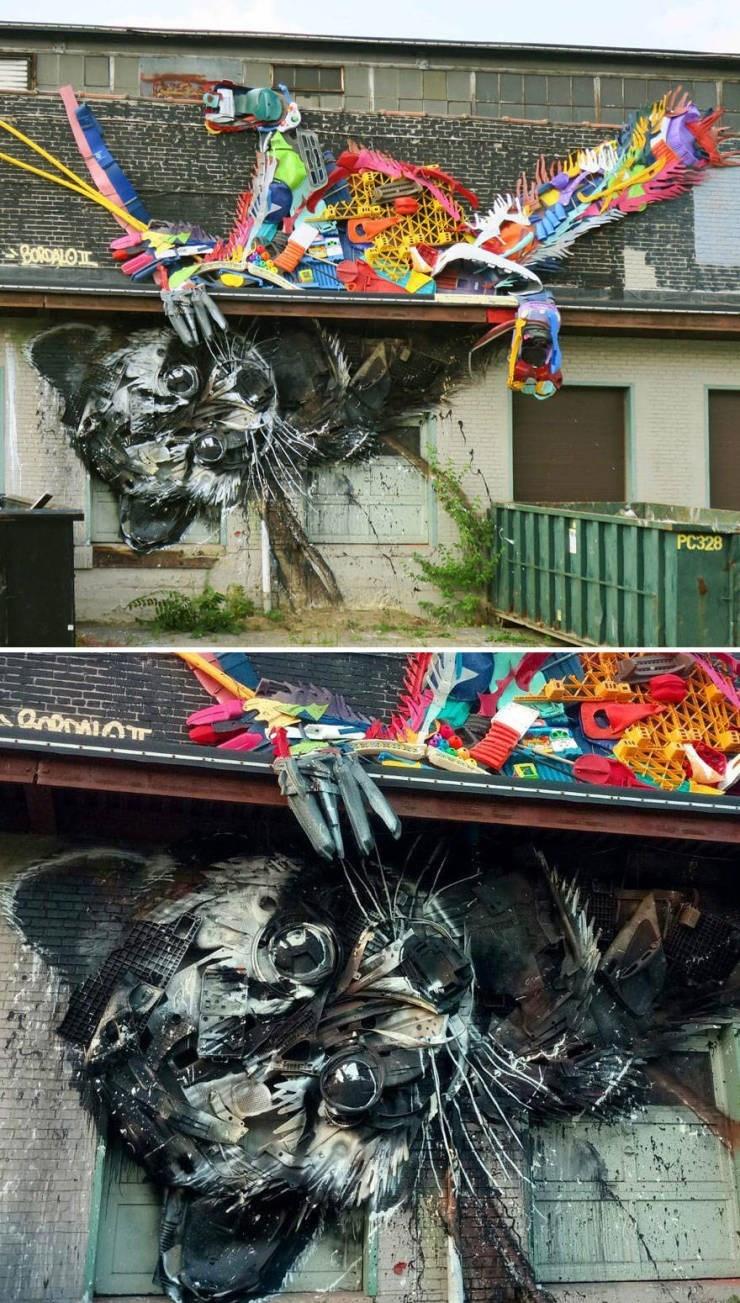 Street art - BORDALO РС328 OronalO