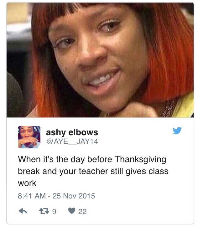Hair - ashy elbows @AYE JAY14 When it's the day before Thanksgiving break and your teacher still gives class work 8:41 AM 25 Nov 2015 t9 22