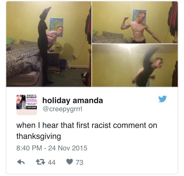 Text - UGLY & HORNY TwMous Pce Pe Fael holiday amanda @creepygrrrl VINW MOMS when I hear that first racist comment on thanksgiving 8:40 PM - 24 Nov 2015 t44 73