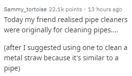 Text - Sammy_tortoise 22.1k points 13 hours ago Today my friend realised pipe cleaners were originally for cleaning pipes.... (after I suggested using one to clean a metal straw because it's similar to a pipe)