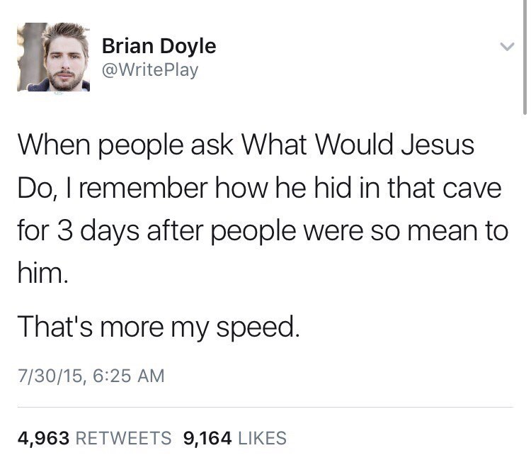 Text - Brian Doyle @Write Play When people ask What Would Jesus Do, I remember how he hid in that cave for 3 days after people were so mean to him. That's more my speed. 7/30/15, 6:25 AM 4,963 RETWEETS 9,164 LIKES